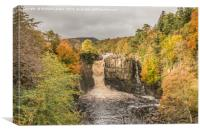 Autumn at High Force Waterfall, Teesdale, Canvas Print