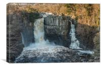 Winter Sun on High Force Waterfall, Teesdale, Canvas Print