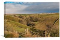 Bank Top and Scar End Farms, Ettersgill, Teesdale, Canvas Print