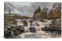 Salmon Leap Falls, River Tees, in Wintry Sun, Canvas Print