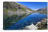 Small lake with clear meltwater in Norway, Canvas Print