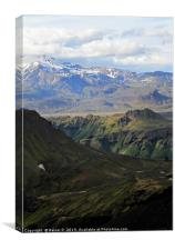 Rugged mountain landscape in Iceland, Canvas Print