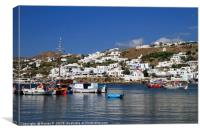 Gorgeous view over the port of Mykonos, Canvas Print