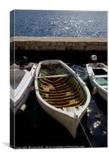 Old wooden boat in Perast, Canvas Print