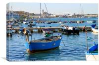 Boats and yachts in the quiet port of Trani, Italy, Canvas Print