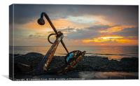 Sunset and Anchor, Canvas Print