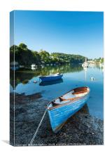Boats on the River Yealm at Noss Mayo, Canvas Print