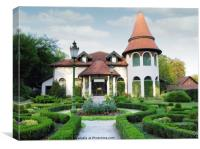 little castle with hedgerow yard, Canvas Print