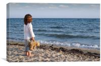 little girl with teddy bear standing on beach and , Canvas Print