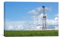 oil drilling rig on green wheat field, Canvas Print