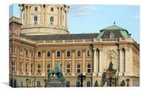 Buda royal castle with fountain and horse statue, Canvas Print