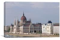 Hungarian Parliament on Danube river Budapest, Canvas Print