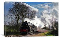 Black 5 45212 at Oxenhope , Canvas Print