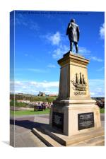 Captain Cook watching over Whitby Harbour, Canvas Print