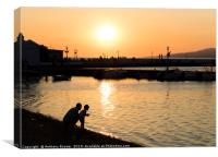 Father and Son in Mykonos, Canvas Print