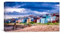 Beach huts at Tankerton slopes near Whitstable, Canvas Print