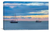Boats at sunset on the Swale Estuary in Kent , Canvas Print