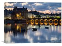 Bideford Long Bridge at sunset in North Devon, Canvas Print