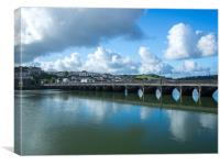 Bideford Long bridge in the sunshine of Devon, Canvas Print