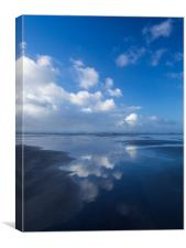 Wonderful cloud reflections on Westward Ho beach, Canvas Print