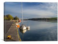 Boats moored on the quay at Bideford in Devon, Canvas Print