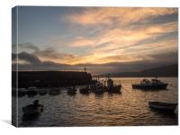 Sunrise over the fishing boats of Clovelly , Canvas Print