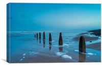 Weathered beach groynes at Dawn, Canvas Print