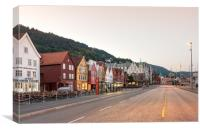 The Bryggen Hanseatic Wharf of Bergen waterfront., Canvas Print