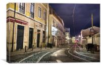 An old stone street in Lisbon at night., Canvas Print