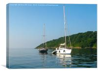 Boats at Anchor, Oxwich Point, Canvas Print