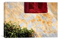 Red shutters, Athens., Canvas Print
