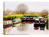 Canal boats, Lancaster Canal, Preston, Canvas Print