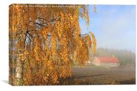 Autumnal Landscape with Morning Mist, Canvas Print