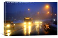 Traffic on Foggy Blue Winter Evening, Canvas Print
