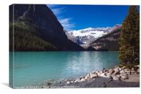 Turquoise coloured waters of Lake Louise, Banff Na, Canvas Print