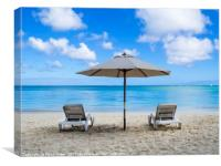 Two sun loungers and parasol on beach, Canvas Print