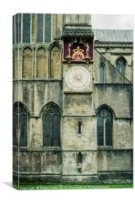 Clock on exterior wall of Wells Cathedral, Canvas Print