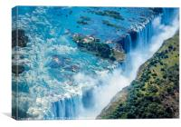 Aerial shot looking over Victoria Falls, Africa, Canvas Print
