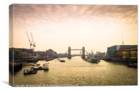Tower Bridge in London at dusk, Canvas Print