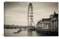Toned image of London Eye wheel on the river Thame, Canvas Print
