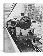 Swanage steam train in black and white , Canvas Print