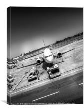 Airport plane artistic black and white photo, Canvas Print