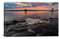 streaming water sunset over lake, Canvas Print