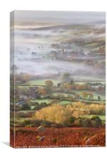 Widecombe-in-the-Moor on a Misty Morning, Canvas Print