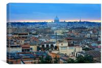 Beautiful Vibrant Night image Panorama of Rome, Canvas Print