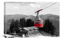 The red cable car gondola in Sinaia, Romania, Canvas Print