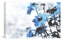 Abstract blue blooming flowers, Canvas Print