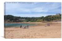 Portelet Bay, Jersey 21 July 2019: Holiday makers , Canvas Print