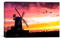 A windmill at Cley Next the Sea, Canvas Print