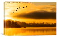Flight of the dawn geese., Canvas Print